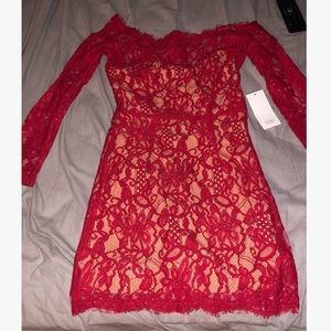 Red Lace Off the Shoulder Mini Dress